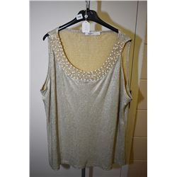 Vintage lame top with applied pearl decoration
