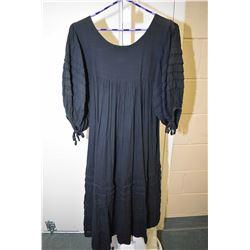 Vintage cotton 3/4 length Boho dress in black