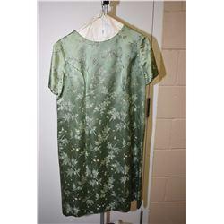 Vintage embroidered satin short sleeve dress