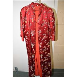 Vintage embroidered Oriental silk fully lined coat dress
