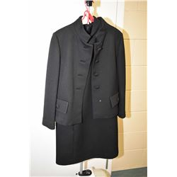 Vintage Finala Montreal black dress suit including knee length dress and military styled jacket