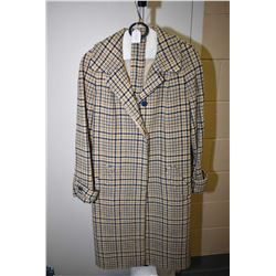 Vintage English made wool top coat made by All Reed Model with belt
