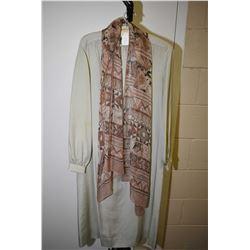 Vintage 100% silk I.Magnin & Co. dress with Jaegar chiffon scarf