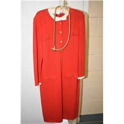 Vintage I.Magnin & Co. dress with uniform style brass button including faux pocket and cuffs with a
