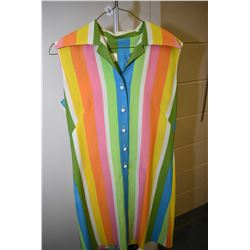 1960's era colourful sleeveless day dress labelled Andrade, Honolulu