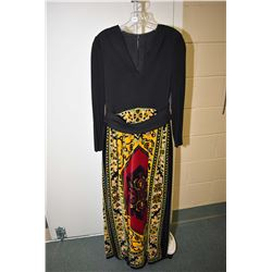 Vintage Adele Simpson full length dress with fully crepe lined velvet skirt