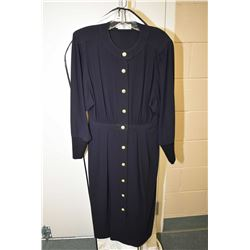 Vintage Italian made Valentino full length navy blue dress with military style buttons