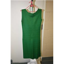 Vintage Italian made 100% silk Maria Pavignani green sleeveless dress