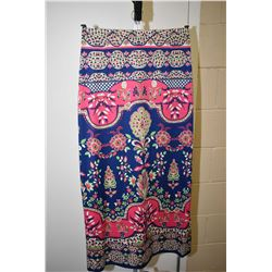 Vintage colourfully printed and fully lined full length skirt