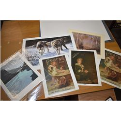 Selection of unframed prints including Maurade Baynton, Pear's Soap ads etc.