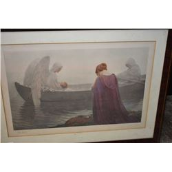 Framed antique coloured etching of a mother sending her child to heaven via the boatman pencil signe