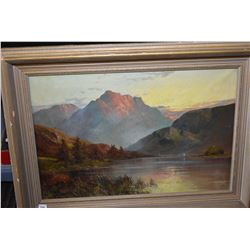 "Framed oil on canvas painting of Scottish highland signed by artist E. Jamieson, 16"" X 24"""