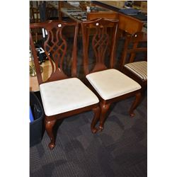 Two semi contemporary dining chairs/side chairs with cabriole feet and upholstered seats