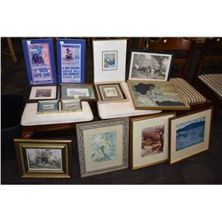 Selection of framed artworks including bullfight posters, needle works, Dana Weil, watercolours etc.