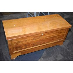 Mid century style cedar lined trunk with drawer, needs hinge repair
