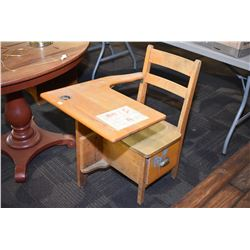 Child's vintage maple attached chair and desk combination with storage in seat