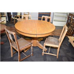 Center pedestal round Canadiana dining table with four chairs