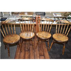 Set of four antique spindle back pub chairs with round seats