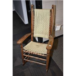 Open arm rocking chair with rush seat and back