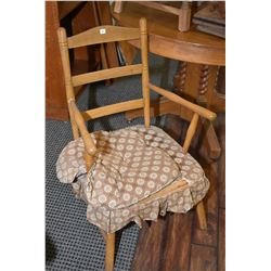 Vintage open arm ladder back chair