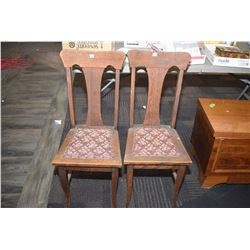 Two vintage Canadian t-back side chairs