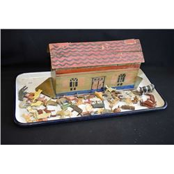 Vintage Noahs Ark with hand carved animals and figures