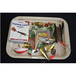 Selection of vintage fishing lures and a bamboo 3 piece fly rod
