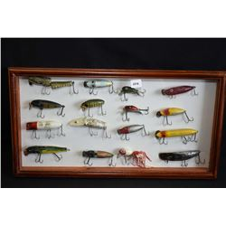 Cased set of vintage fishing lures