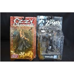Two mint in package McFarlane Toys action figures including Ozzy Osbourne and Rob Zombie