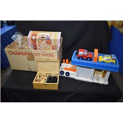 Box of toys including FisherPrice car wash, wooden chess pieces etc.