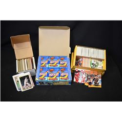 Full box of unopened 1991 Topps 34 pack collector cards in retail box and two boxes of assorted spor