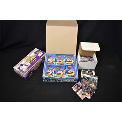 Full box of 1991 Topps 34 pack collector cards in retail box, unopened 1991 Score NHL hockey collect