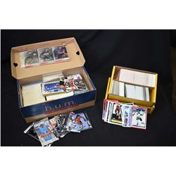 Shoe box filled with assorted collector cards including some unopened and an 800 count box of assort