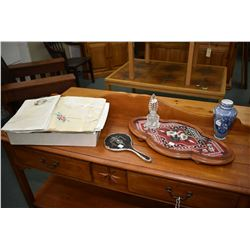 Selection of vintage collectible including Victorian mahogany and beadwork footed dresser tray, a st