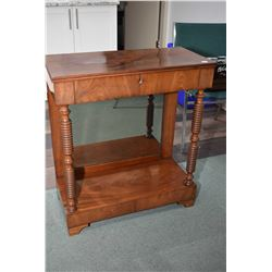 Antique hall stand with turned supports, mirrored bottom and single drawer