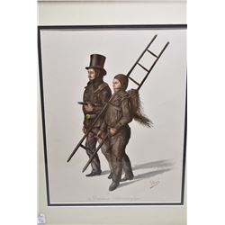 Pair of vintage hand coloured etchings including one featuring porters and one of chimney sweeps