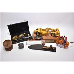 Selection of collectibles including sliding snake box, interesting German made sheathed knife with f