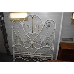 Painted wrought iron style double bed including headboard, footboard and rails