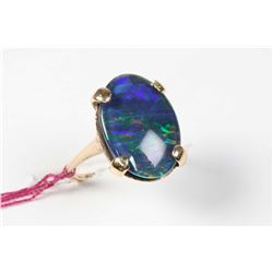 Ladies 10kt yellow gold and black opal ring