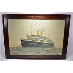 Framed promotional print of the Empress of Scotland with incised wooden framed label at top Empress
