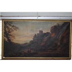 Antique oil on canvas painting of a hillside castle and figures fishing, no signature seen, 29  X 53