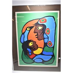 Framed limited edition Norval Morriseau print 151/250, has had slight damage, probably before framin