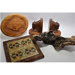 Selection of treenware including pair of American buffalo bookends and wall plaque, a hunk of drift