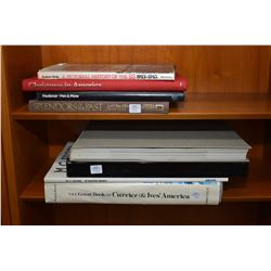 Selection of hard cover books including The Great Book of Currier & Ives, M.C. Escher's 29 master pr