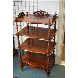 Antique Victorian four tier 'tagŠre with twist supports and drawer base