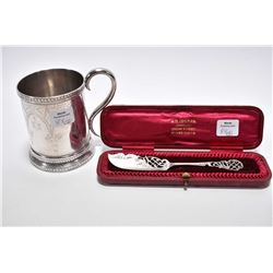 Heavily chaised sterling silver baby cup with British hallmarks and boxed sterling silver pierced sp