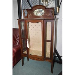 Antique Sheraton style single door display cabinet with two shelves and bevelled mirrored back with