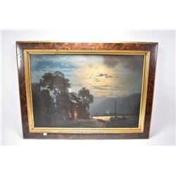 Antique gilt and burled framed oil on canvas painting of a war scene at night, note picture badly da