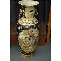 Semi contemporary Oriental style hand painted floor vase with swan motif handles and serpent design
