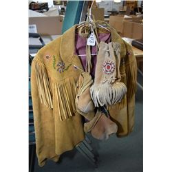 Vintage beaded leather jacket and a pair of moccasins plus a beaded satchel